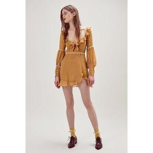 For Love & Lemons Marquee Mini Dress Mustard S NWT